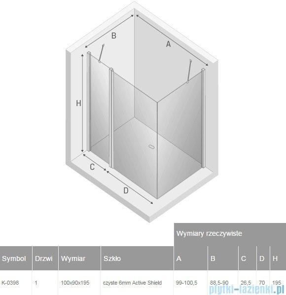 New Trendy New Soleo 100x90x195 cm kabina prostokątna przejrzyste K-0398