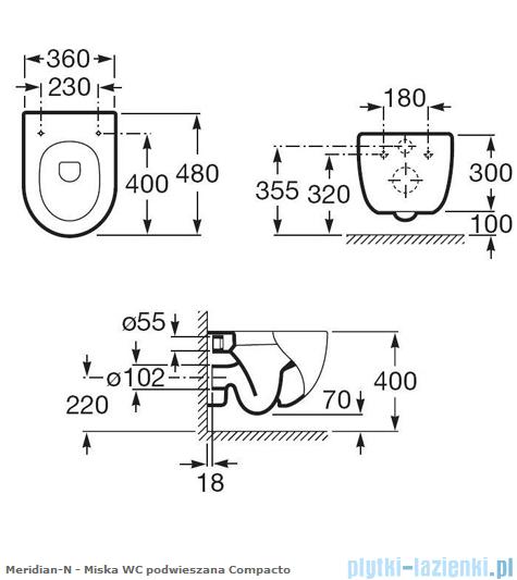 Roca Meridian-N Compacto Zestaw miska Wc podwieszana z deską wolnoopadającą A346248000,A8012AC004