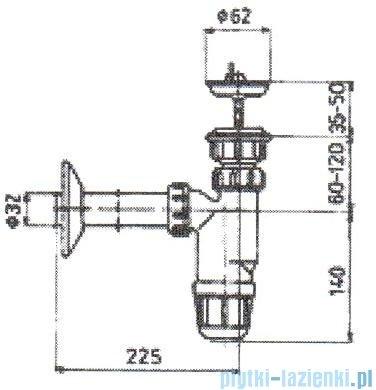 KFA Syfon umywalkowy tworzywo spust metalowy 602-355-44