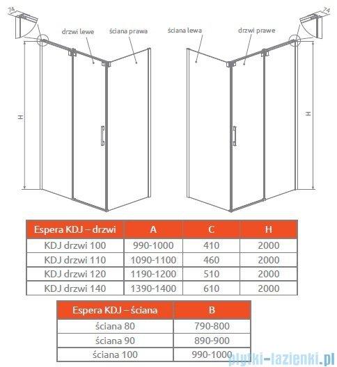 Radaway Espera KDJ S Ścianka boczna 100 lewa szkło przejrzyste 380140-01L