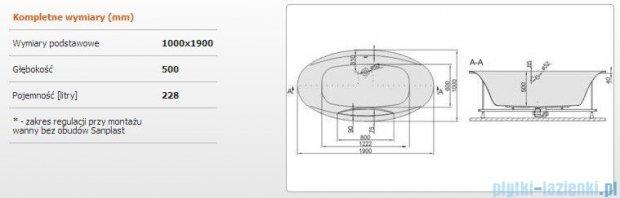 Sanplast Altus Wanna owalna+stelaż WOW-ALT/EX 190x100+SP, 610-120-1360-01-000