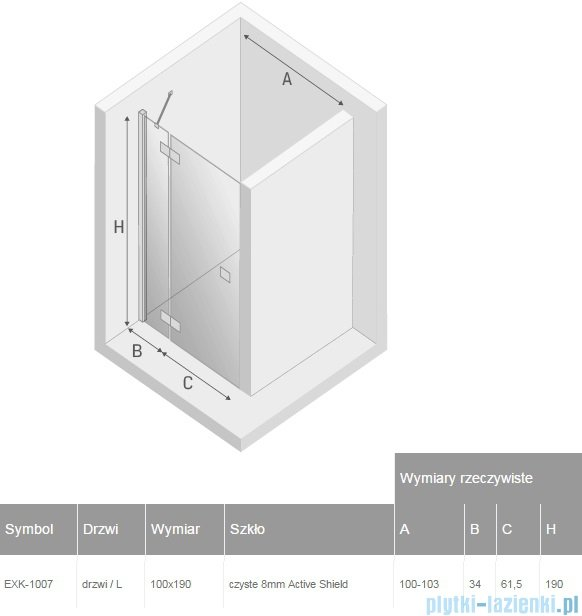 New Trendy Modena drzwi prysznicowe lewe 100 EXK-1007