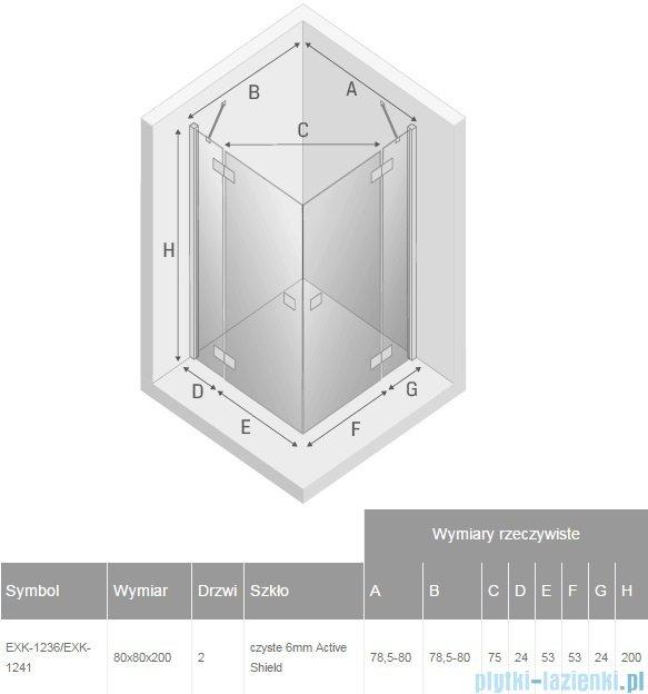 New Trendy Reflexa 80x80x200 cm kabina kwadratowa przejrzyste EXK-1236/EXK-1241