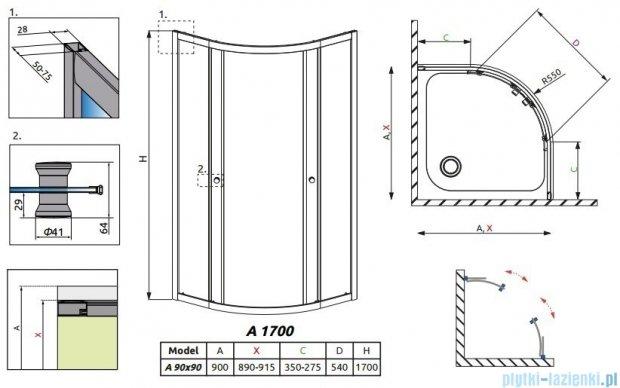 Radaway Premium A Kabina półokrągła 90x90x170 szkło fabric 30401-01-06