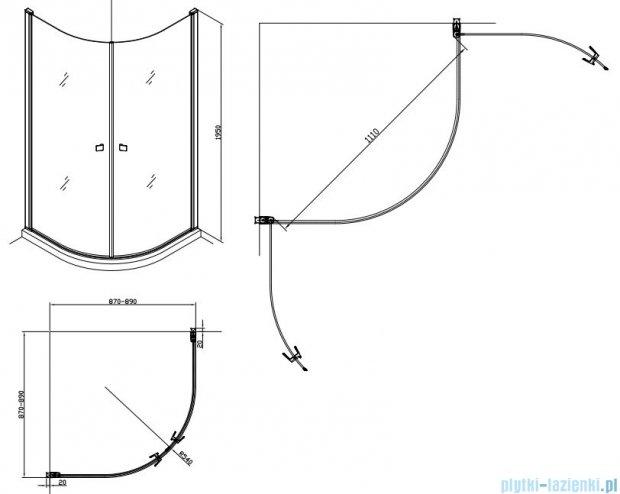 Alterna kabina półokrągła 2-ścienna 90x90x195 cm przejrzysta ALTN-195218
