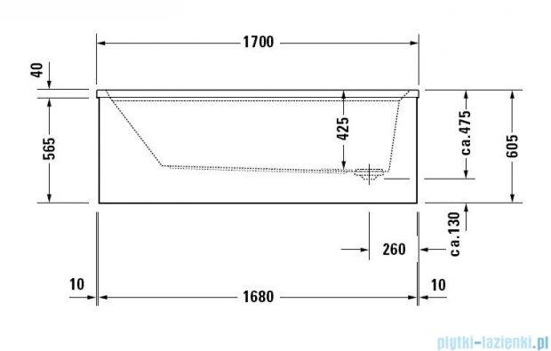 Duravit 2nd floor wanna prostokątna 170x70cm na stelażu do obudowy meblowej  700079 00 0 00 0000