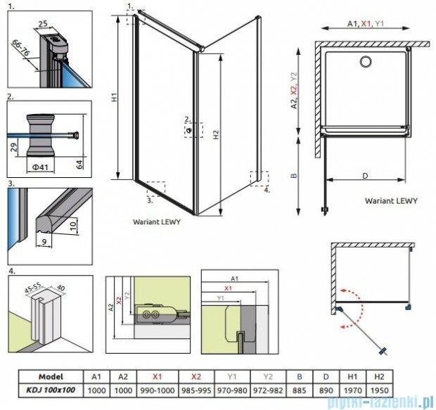 Radaway Eos KDJ kabina prysznicowa 100x100 lewa szkło przejrzyste + delos C + syfon 37523-01-01NL