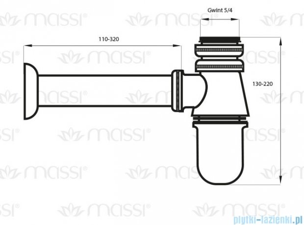 Massi Półsyfon butelkowy chrom MSA-PM-03