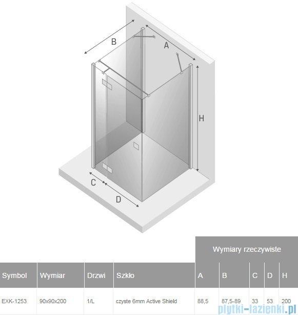 New Trendy Reflexa 90x90x200 cm kabina trójścienna lewa przejrzyste EXK-1253