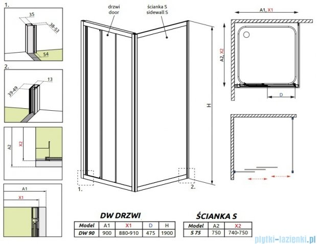 Radaway Treviso DW+S kabina 90x75 szkło fabric 32303-01-06N/32433-01-06N
