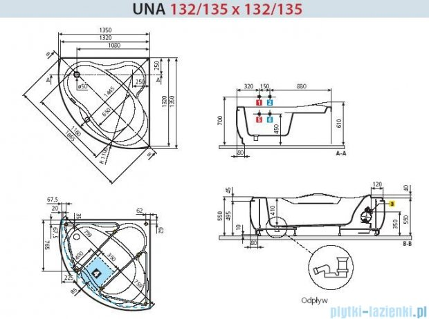 Novellini Wanna UNA do osadzenia 135x135 UNA1135135-A