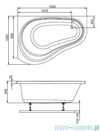 Aquaform Solo wanna asymetryczna 150x105cm prawa 241-05420P