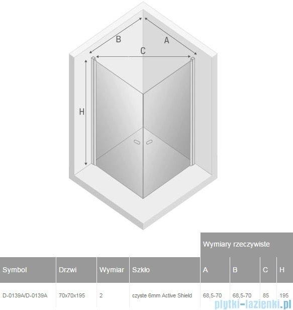 New Trendy New Soleo kabina 70x70x195cm kwadratowa przejrzyste D-0139A/D-0139A