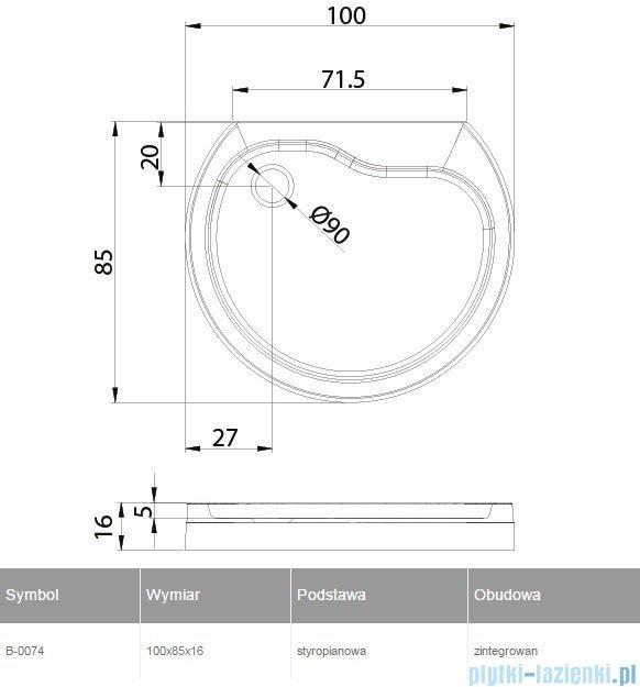 New Trendy Rondo brodzik przyścienny zintegrowany na podstawie styropianowej 100x85 B-0074