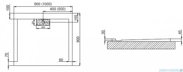 Polimat Comfort brodzik akrylowy posadzkowy 100x90 biały mat 00164