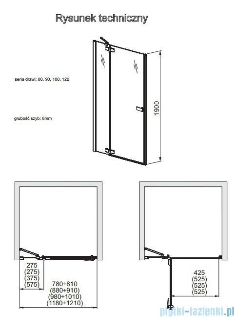 Aquaform Verra Line drzwi uchylne do wnęki prawe 120cm przejrzyste 103-09407