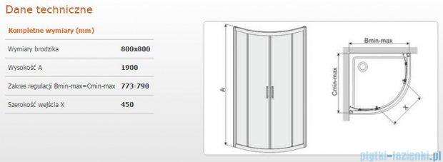 Sanplast kabina narożna półokrągła KP4/TX5b 80x80x190 cm szkło Grey 600-271-0252-38-501