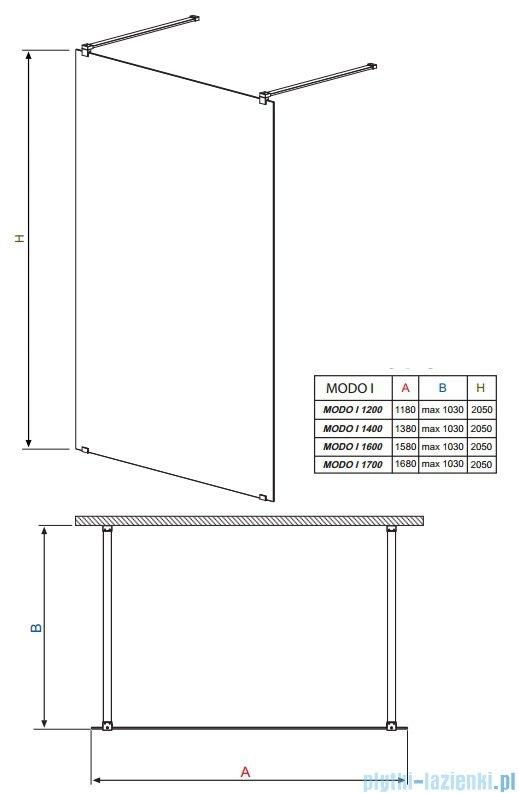 Radaway Modo I kabina Walk-in 120x205 przejrzyste 351124-01-01N