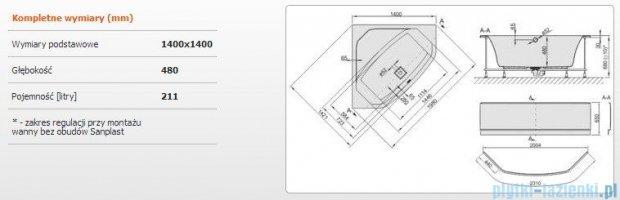Sanplast Space Line Wanna symetryczna+stelaż+obudowa+adapter z pokrywką WS-kpl/SPACE 140x140+SP, 610-100-0750-01-000