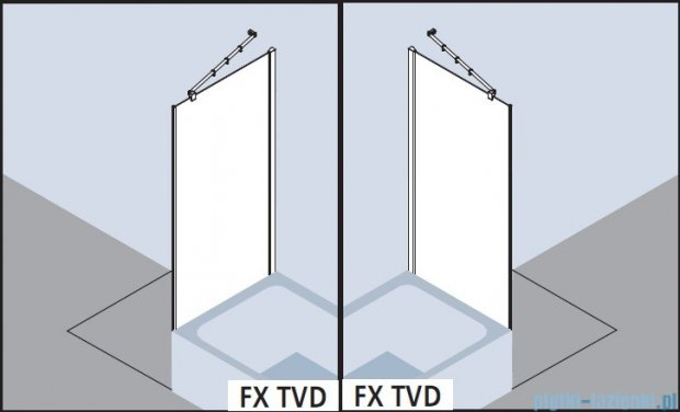 Kermi Filia Xp Ściana boczna skrócona obok wanny, szkło przezroczyste z KermiClean, profile srebrne 100x175cm FXTVD10017VPK