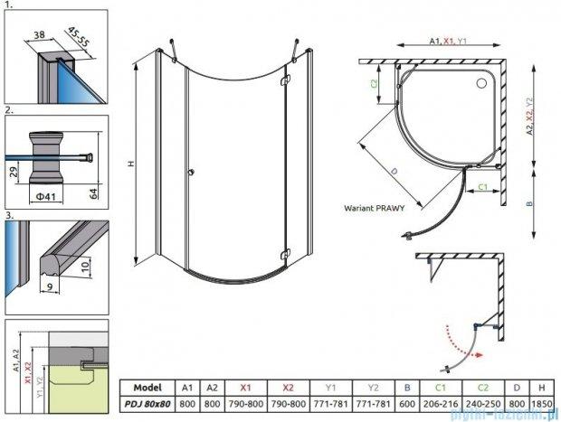 Radaway Torrenta PDJ kabina półokrągła 80x80 prawa szkło przejrzyste + Brodzik Delos A + Syfon 31810-01-01N