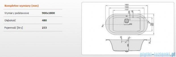 Sanplast Space Line Wanna owalna+adapter z pokrywką WOW/SPACE 180x90 cm, 610-100-0850-01-000