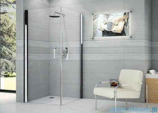 Novellini Ścianka prysznicowa GIADA 2G 75 cm prawa szkło przejrzyste profil chrom GIADN2G75LD-1K