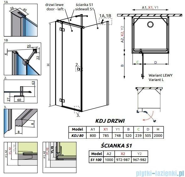 Radaway Essenza New Kdj+S kabina 100x80x100cm lewa szkło przejrzyste 385021-01-01L/384052-01-01/384052-01-01