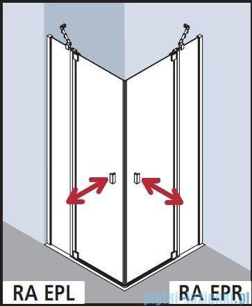 Kermi Raya Wejście narożne, 1 połowa, lewa, szkło przezroczyste z KermiClean, profile srebrne 75x200 RAEPL07520VPK