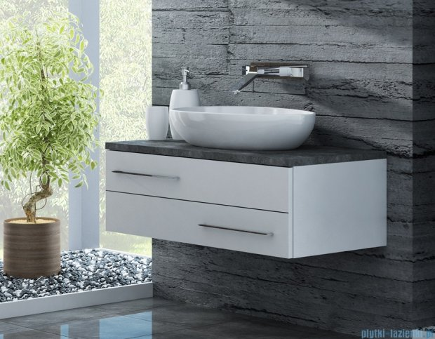 Antado Susanne szafka z umywalką Conti biała/blat grafit 95x46cm AS-140/95-WS+AS-B/4-140/95-73+UCT-TP-37x59