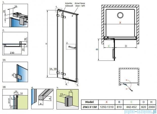 Radaway Arta Dwj II drzwi wnękowe 130cm lewe szkło przejrzyste 386444-03-01L/386013-03-01L