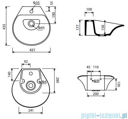 Marmorin Misa umywalka nablatowa bez otworu przelewowego z otworem na baterie 42x43 biała 633040020011