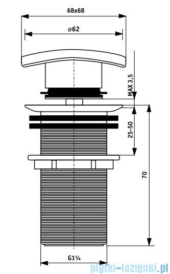 Deante Click-Clack korek kwadratowy, bez przelewu NHC 011A