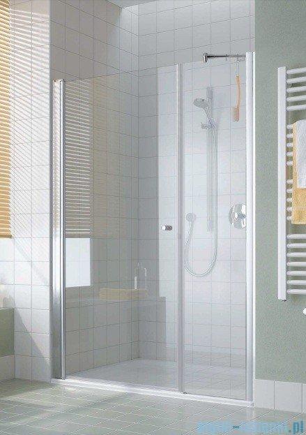 Kermi Atea Drzwi wahadłowe jednoskrzydłowe i pole stałe, prawe, szkło przezroczyste, profile białe 90cm AT1OR090182AK