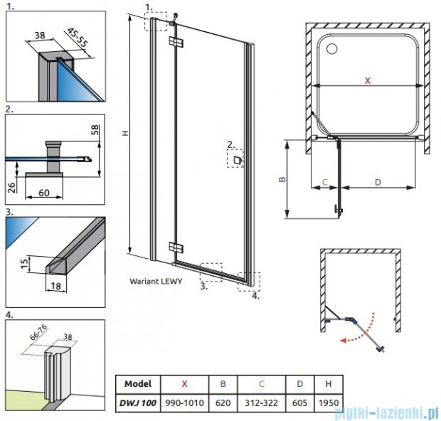 Radaway Almatea DWJ Drzwi wnękowe 100 Lewe szkło grafitowe + Brodzik Delos C 100 + syfon 31202-01-05N