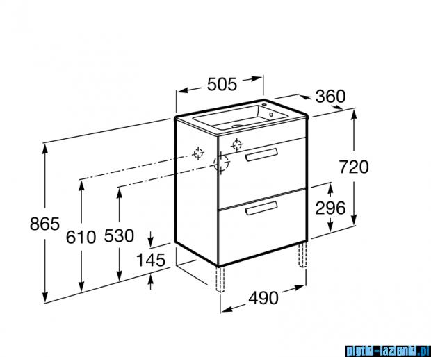 Roca Debba Unik Compacto 50 zestaw łazienkowy z 2 szufladami wenge tekstura A855904154