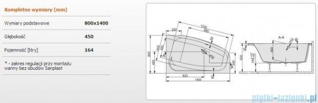 Sanplast Free Line Wanna asymetryczna prawa+stelaż WAP/FREE 140x80+ST26, 610-040-0430-01-000
