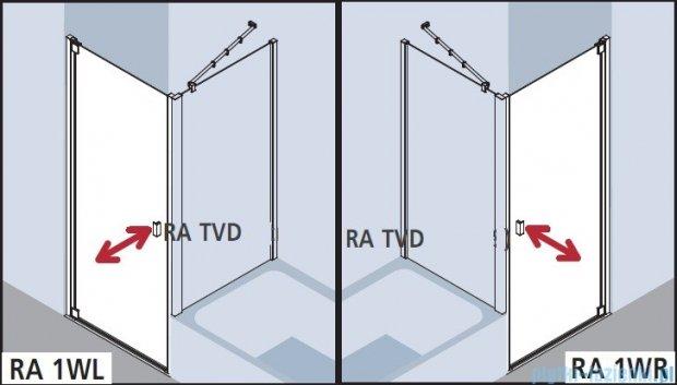 Kermi Raya Drzwi wahadłowe, 1-skrzydłowe, lewe, szkło przezroczyste z KermiClean, profile srebrne 75x200 RA1WL07520VPK