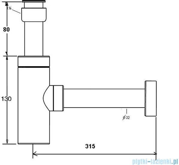 McAlpine Syfon umywalkowy rurowy chrom CA32MINI-CB