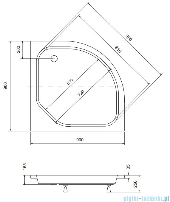 Sea Horse Sigma zestaw kabina natryskowa półokrągła niska 90x90cm grafitowe+brodzik BKZ2/3/KG