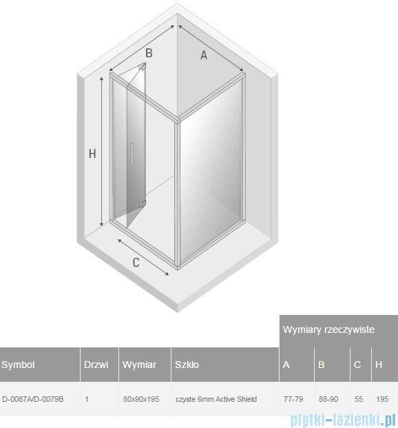 New Trendy Alta kabina prostokątna 80x90cm przejrzyste D-0087A/D-0079B