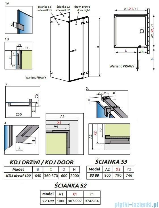 Radaway Euphoria KDJ P Kabina przyścienna 100x80x100 prawa szkło przejrzyste 383040-01R/383032-01/383038-01
