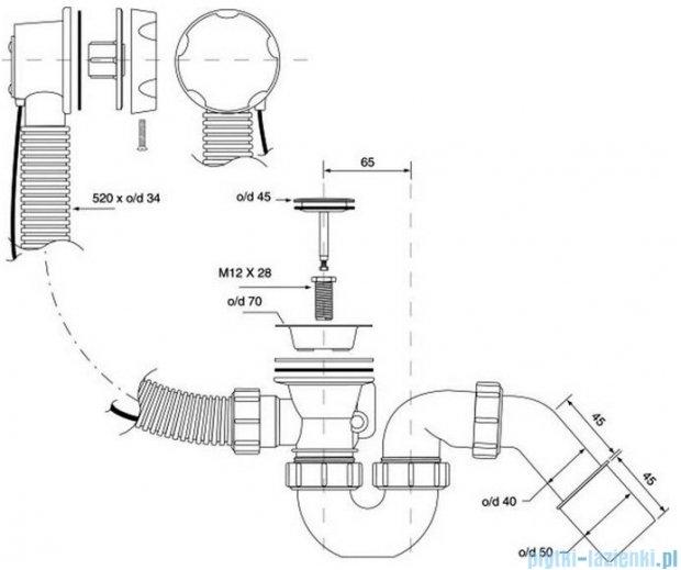 McAlpine syfon wannowy z korkiem automatycznym pokrywa stal szczotkowana HC31M-S2-SN