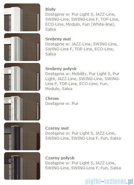 SanSwiss Swing Line SLE2 Wejście narożne 75cm profil srebrny Lewe SLE2G07500107