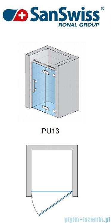 SanSwiss Pur PU13 Drzwi 1-częściowe wymiar specjalny profil chrom szkło Efekt lustrzany Prawe PU13DSM21053
