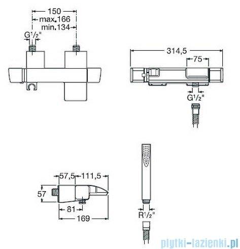 Roca Thesis Bateria wannowo-natryskowa ścienna z termostatem A5A1150C00