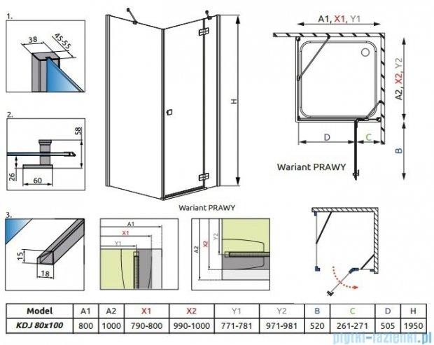 Radaway Kabina prysznicowa Almatea Kdj 80x100 prawa szkło grafitowe + brodzik Doros D + syfon 32149-01-05NR
