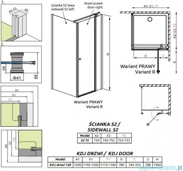 Radaway Eos II Kdj kabina prysznicowa 120x75cm prawa szkło przejrzyste 3799424-01R/3799429-01L