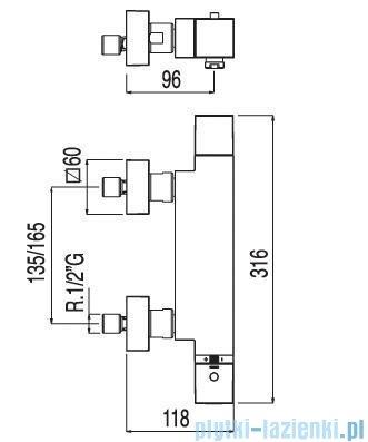 Tres Cuadro-Tres Bateria termostatyczna wannowa bez akcesoriów 1.07.174