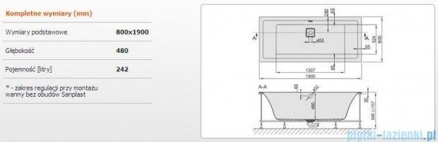 Sanplast Space Line Wanna prostokątna+stelaż WP/SPACE 190x80+SP, 610-100-0360-01-000